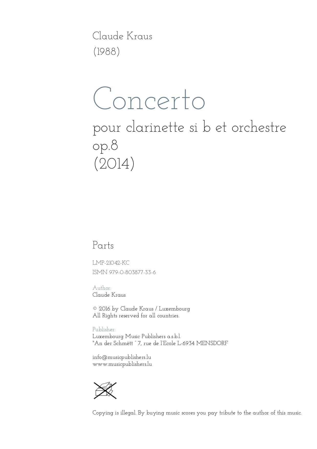 Concerto pour clarinette. Parts