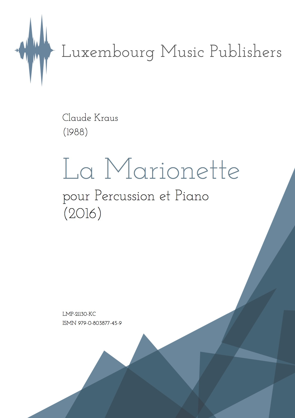 La Marionette. Sheet Music by Claude Kraus, composer. Music for percussion and piano. Contemporary chamber music for percussion and piano.