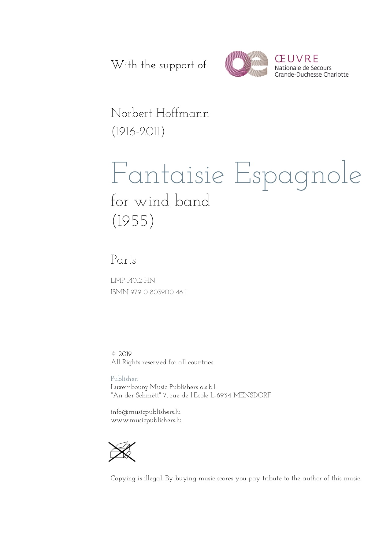 Fantaisie Espagnole. Sheet Music by Norbert Hoffmann, composer. Music for wind orchestra. Music for symphonic wind orchestra/band. Parts.